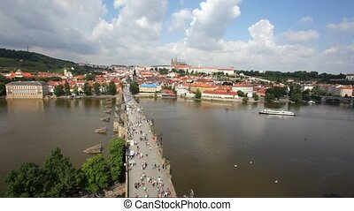 Tourists on Charles Bridge, Prague,Czech Republic - PRAGUE,...