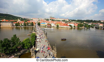 Tourists on Charles Bridge, Prague,Czech Republic.