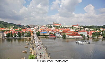 Tourists on Charles Bridge,  Prague,Czech Republic