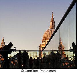 Tourists on Millennium Bridge, St Paul's, London