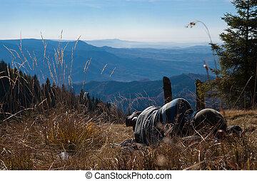 tourists on mountain top
