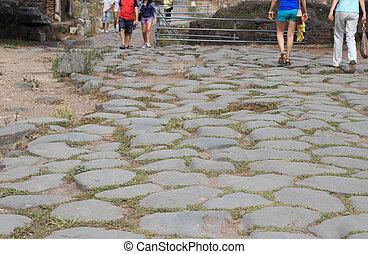 tourists on roman street