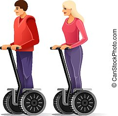 Tourists on segways. Young man and girl. Vector illustration.