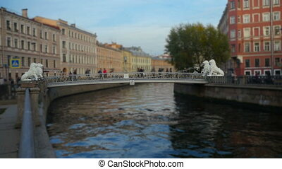 Lion bridge in St. Petersburg - tourists on the Lion bridge...