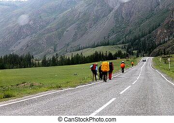 Tourists on the way
