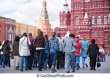 tourists, på, röda fyrkantiga