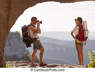 tourists., photographies, femme, deux, homme