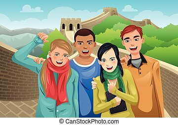 Tourists Posing in Great Wall of China - A vector...