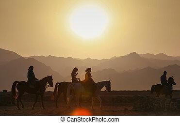 Tourists riding horses - DAHAB, EGYPT - JANUARY 29, 2011: ...