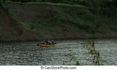 Tourists Sailing on Canoes, Qld Island, Australia