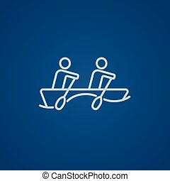 Tourists sitting in boat line icon. - Tourists sitting in...