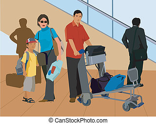Tourists standing with luggage by escalator