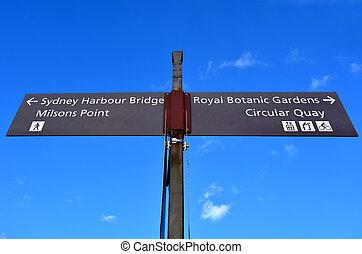 Tourists street signpost Sydney New South Wales Australia