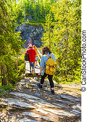 Tourists travelers on small wooden bridge footpath forest Hemsedal Norway.