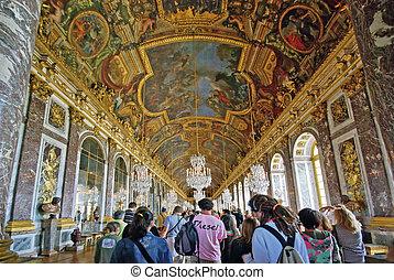 Tourists visiting Versailles Palace - PARIS, FRANCE - AUGUST...