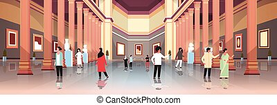 tourists visitors in classic historic museum art gallery hall with columns interior looking ancient exhibits and sculptures collection flat horizontal banner