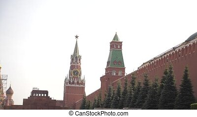 Tourists walking on the Red Square near the Kremlin on...