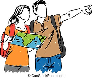 tourists with a map illustration
