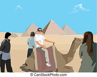 Tourists with camel in desert and Giza Pyramid in background ; Cairo Egypt