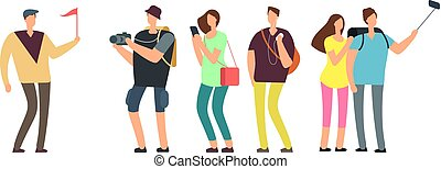 Tourists with guide on travel tour. Travelling people with family on vacation vector concept