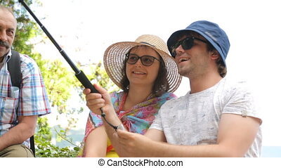 Tourists with selfie stick