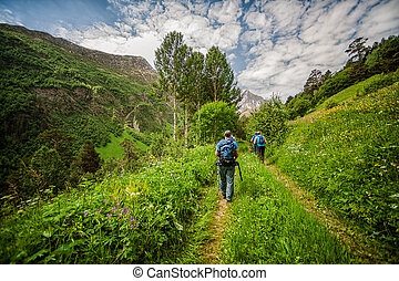 Tourists and climbers with trekking pole are on the mountain Cheget, Kabardino-Balkaria Republic, Russia. Caucasus Mountains