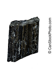 tourmaline, schorl cut out on a white background
