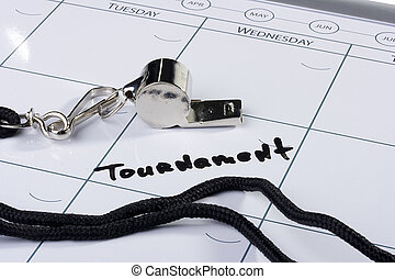 Tournament Date - A silver whistle laying next to the word...