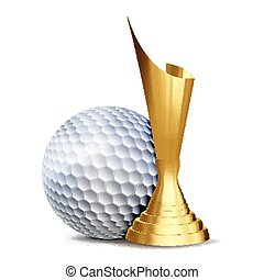 tournament., doré, golf, cup., business, ligue, flyer., moderne, récompense, concurrence, élément, jeu, conception, illustration, vector., disposition, sport, balle, promotion., ball., publicité