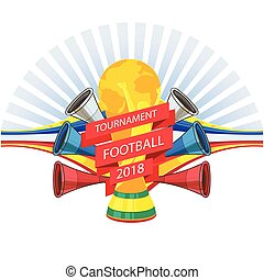 Tournament Football 2018 Championship Cup Horns Background Vector Image