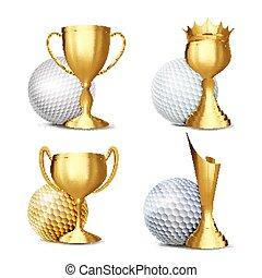 tournament., gouden, set, golf, mal, cup., certificaat, spandoek, moderne, toewijzen, promotion., diploma., spel, ontwerp, illustratie, vector., advertising., announcement., sportende, bal, gebeurtenis