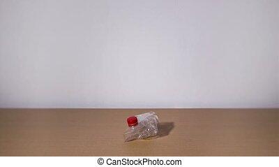 tournants, mouvement, arrêt, bouteille, plastique