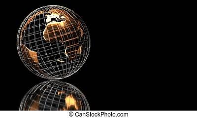 tourne, vidéo, reflet, globe, fond, noir, doré, boucle