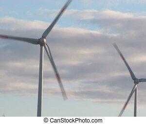 tourner, éoliennes, ciel