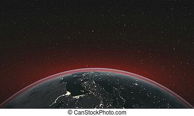 tourner, étoilé, orbite, planète, horizon, fond, la terre