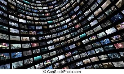 tourner, animé, écran visuel, 4k, mur vert