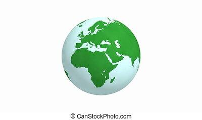 tourner, animation, vert, 4k, fond, la terre, blanc
