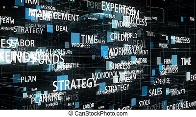 tourner, apparenté, mots, hyperspace, business