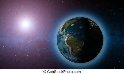 tourner, arrière-plan soleil, la terre