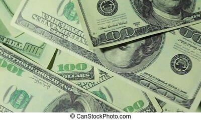 tourner, billet banque, beaucoup, dollars, cent, tas