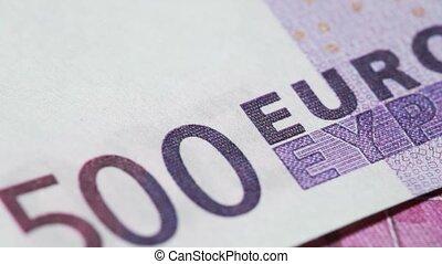 tourner, billet banque, euros, dénomination, cinq cents