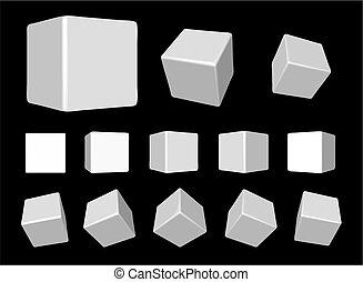 tourner, blanc, cubes