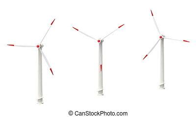 tourner, blanc, turbines, bac, vent