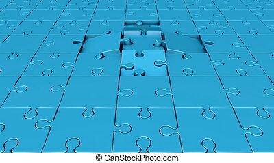 tourner, bleu, morceaux puzzle