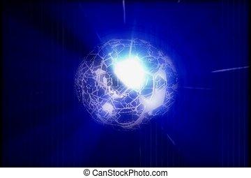tourner, bleu, sphère