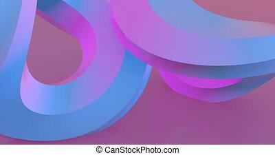 tourner, cercles, rose, métrage, 3d, deux