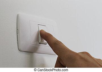 tourner, commutateur, house., lumière, doigts, fermé