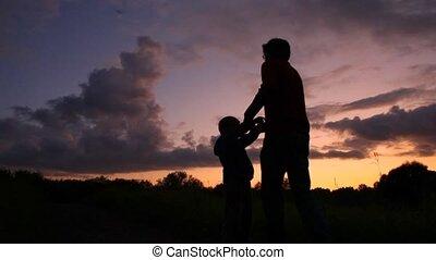 tourner, coucher soleil, père, fond, fils