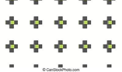 tourner, cruciforme, edges., jaune, sombre, rendre, formes, abstract., 3d