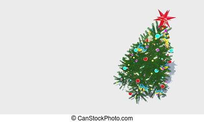 tourner, décoré, arbre, noël, boucle